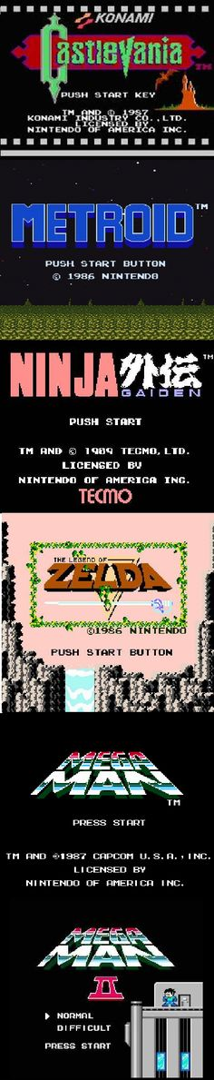 """NES title screens -- """"Push Start Button,"""" the old video game equivalent of """"Open Sesame"""""""