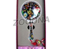 Vintage Style Round Hand Held Mirror Decorative Mother of pearl Floral Vanity…