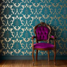 Majestic Damask Wallpaper - Designer Blue Wall Coverings by Graham  Brown