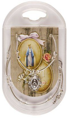 Necklet - Miraculous Medal with Crystal Beads. Virgin Mary Necklace, Crystal Beads, Crystals, Our Lady Of Lourdes, Catholic Jewelry, Rosary Necklace, Miraculous, Necklaces, Sterling Silver