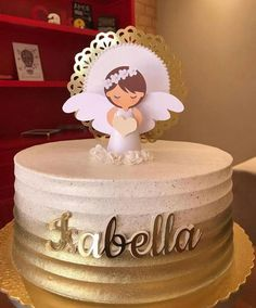 First Communion Decorations, First Communion Cakes, Baby Girl Birthday Cake, Elegant Birthday Cakes, Birthday In Heaven, Cake Decorating Videos, Girl Cakes, Baby Party, Cake Toppers