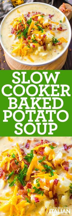 Slow Cooker Potato Soup is easy to make, creamy, thick and packing all the delicious flavors of a fully loaded baked potato! Slow Cooker Potato Soup is easy to make, creamy, thick and packing all the delicious flavors of a fully loaded baked potato! Crock Pot Recipes, Crock Pot Soup, Crockpot Dishes, Slow Cooker Recipes, Chicken Recipes, Cooking Recipes, Bacon Recipes, Slow Cooker Dinners, Fall Crockpot Recipes