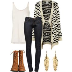 .Tribal Waterfall Cardigan + White Tank + Dark Skinny Jeans + Tan Combat Boots