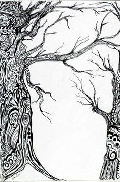 Zentangle trees Tangle Doodle, Tangle Art, Doodle Art, Tree Coloring Page, Doodle Coloring, Zen Doodle Patterns, Zentangle Patterns, Zentangle Drawings, Doodles Zentangles