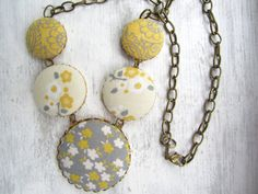 Yellow and Gray Wedding- Flower Necklace by clammyscloset, $25.00