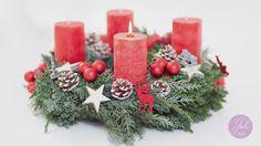 Adventskranz mit roten Kerzen. www.julstyle.de