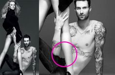 They do it to men, too. Adam Levine's stomach was partially deleted and sculpted in this Vogue shot with model Anne V...