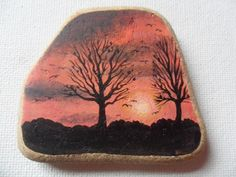Red sunset trees - Original acrylic miniature painting on beach pottery by ShePaintsSeaglass on Etsy