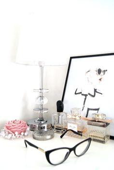 perfume, desk. woman, female