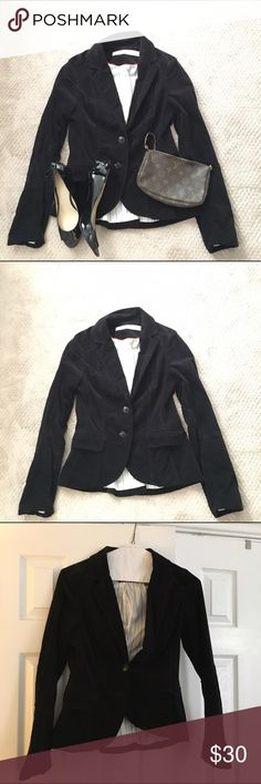 Black velvet blazer jacket Anthropologie Black velvet blazer jacket from Anthropologie - brand Daughters of the Liberation. Double button front. Pinstripe interior. Excellent condition. Would look great with jeans or work slacks. Anthropologie Jackets & Coats Blazers