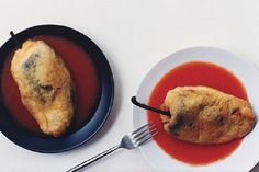Cheese-Stuffed Poblanos with Tomato Sauce from Epicurious (Photo by Romulo Yanes)
