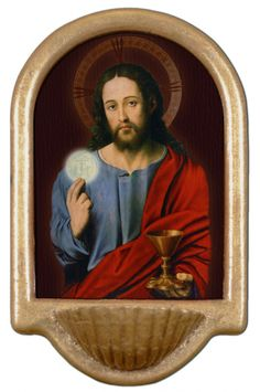Christ With Eucharist Holy Water Font Click picture to see on #catholictothemax
