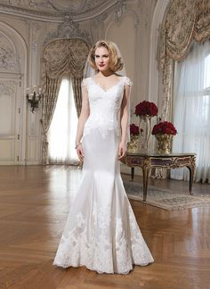 New Fashion Cap Sleeve V-Neck Lace Satin Mermaid Wedding Dresses Bridal Gowns Custom Made Size 2 4 6 8 10 12 14 16 18+ W557