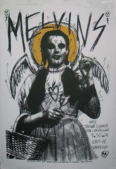 Love This : Print Mafia Melvins Poster Tour Posters, Band Posters, Music Posters, Retro Posters, Arte Punk, Punk Art, Punk Poster, Gig Poster, Music Artwork
