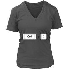 "Unique Family Matching Design District Womens V - Neck ""Ctrl + C"" (5 sizes)"