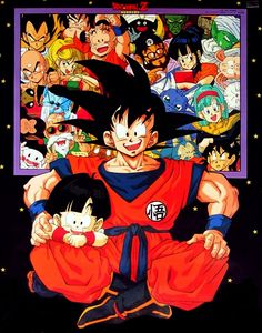 Goku and Gohan with family and friends