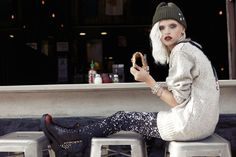 8th street black and red boots, Car Mar galaxy print denim styled with a grey and black cat jumper and a beanie