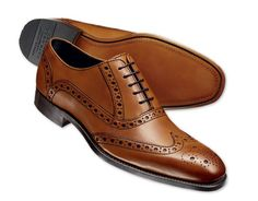 Charles Tyrwhitt - Tan contemporary calf Brogue shoes.