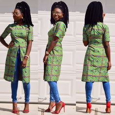 African Ankara fitted knee length top with half by Veroexshop
