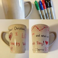 Made my boyfriend a homemade Valentine's Day gift. Drew all over this mug, baked it in a preheated 350 degree oven for 30 minutes, and voila! It's ready for tomorrow. <3