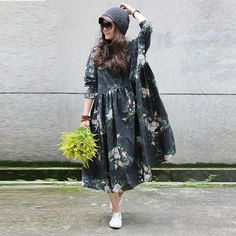 Women vintage long sleeve floral printing loose pullover cotton dresses