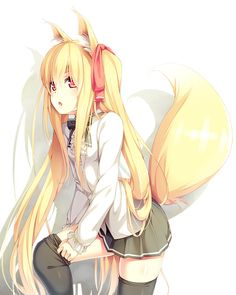 ANIME ART ✮ kitsune. . .fox girl. . .fox ears.