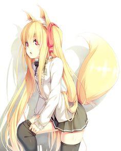 ✮ ANIME ART ✮ kitsune. . .fox girl. . .fox ears. . .fox tail. . .long hair. . .thigh high stockings. . .hair ribbon. . .cute. . .kawaii
