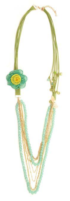 "Colier ""Green flower"" - Meli Melo - Paris Meli Melo, Green Flowers, Beaded Necklace, Paris, Summer, Collection, Jewelry, Beaded Collar, Montmartre Paris"