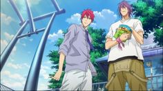 Akashi and Murisakibara - Kuroko no Basket. I CAN'T WAIT for the secodn season to see them like playing in games and stuff! GAH!!!!!!! SO PUMPED!!!!!! In the ZONE!