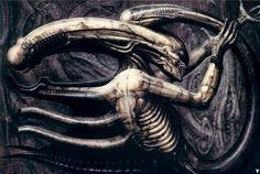 Necronom IV by HR Giger. This is from 1976 and shows an early depiction of what would become the Xenomorph creature in the Alien films. Hr Giger Art, Hr Giger Alien, Xenomorph, Art Alien, Science Fiction, Alien Creatures, Chur, Arte Horror, Horror Art