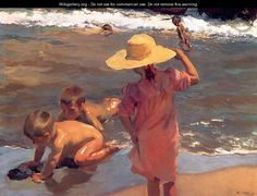 "Joaquin Sorolla y Bastida:  The Young Amphibians"" oil on Canvas,"