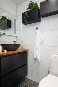 Adorable tiny apartment with intriguing layout in Sweden Vanity & Sink with storage drawers