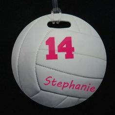 $8.00 each (team gift-christmas, tournament, spirit, end of season)  Amazon.com: personalized Round Volleyball Bag Tag: Sports & Outdoors
