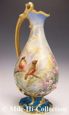"15"" Limoges France Hand Painted Roses Love Birds in Paradise Garden Ewer Vase   eBay"