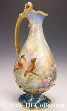 "15"" Limoges France Hand Painted Roses Love Birds in Paradise Garden Ewer Vase | eBay"