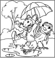 Stuart Little Play Rain Coloring Picture For Kids