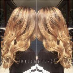 Rich golden blonde by Dawnelle of Blondie's Salon balayage ombre HOT Beauty Magazine facebook.com/hotbeautymagazine #hotonbeauty