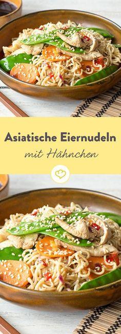 Das Auge isst ja bekanntlich mit. Ein buntes, schnelles Wok-Gericht mit knackigem Gemüse, zartem Hähnchenfleisch und ein wenig Sesam-Crunch.