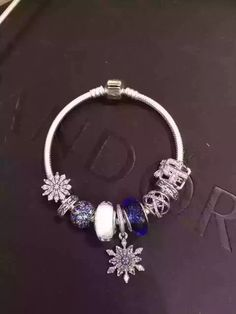 50% OFF!!! $239 Pandora Charm Bracelet Blue White. Hot Sale!!! SKU: CB01984 - PANDORA Bracelet Ideas