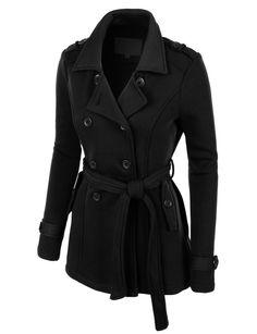 f5718cbb98b LE3NO Womens Classic Double Breasted Pea Coat Jacket with Pockets