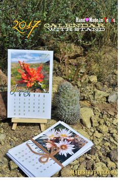 Handmade Photo Desk Calendar 2017, Cactus Wild Blooms with wood stand, Monthly Calendar, Desert Big Bend Texas