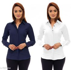 Checkout this latest Shirts Product Name: *Trendy Poly Crepe Women's Shirts ( Pack Of 2)* Fabric: Poly Crepe Sleeve Length: Long Sleeves Pattern: Solid Multipack: 2 Sizes: S, M, L, XL Country of Origin: India Easy Returns Available In Case Of Any Issue   Catalog Rating: ★3.7 (301)  Catalog Name: Ladies Polycrepe Shirts Combo Vol 2 CatalogID_128001 C79-SC1022 Code: 195-1051104-3951