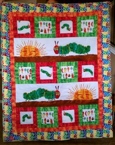 Very Hungry Caterpillar Quilted Throw by maryannewiley on Etsy, $160.00