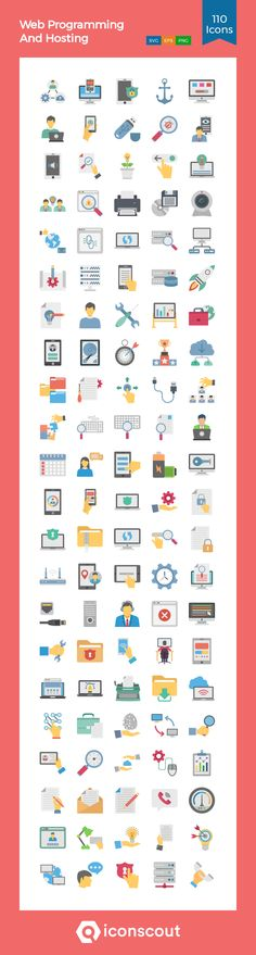 Web Programming And Hosting Icon Pack - 110 Flat Icons Flat Icons, Png Icons, Branding Agency, Icon Pack, Icon Font, Design Development, Programming, Fonts