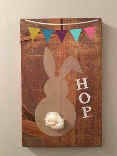 Hop Easter Bunny wood sign, distressed, holiday decoration, wall hanging, spring sign, wood easter decor, bunny butt