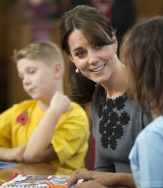 Catherine, Duchess of Cambridge meets children from Chance UK's Early Intervention Programme at Islington Town Hall on October 27, 2015 in London.