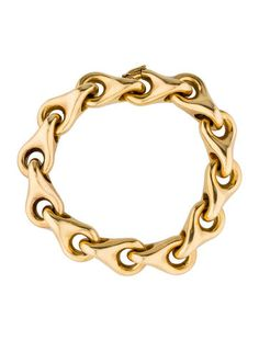 Yellow Gold Tiffany Co Link Bracelet With Hinged Clasp Closure