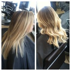 Soft ombre, blonde, layers, highlights, hair painting, balayage