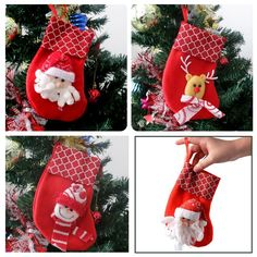 Christmas Stockings Decorations,DiDaDi [6 Pcs] 3D Santa Snowman Reinbeer Personalized Mini Christmas Candy Stockings Dinnerware Xmas Tree Ornaments Small Gift Card Toys Fruits Pouch Bag for Kids *** SPECIAL OFFER AHEAD! : Stockings