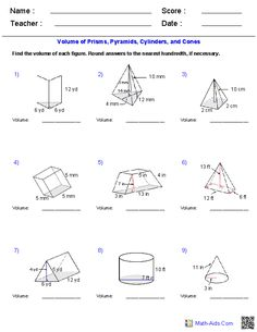 Prisms Pyramids Cylinders Cones Volume Worksheets Area Geometry
